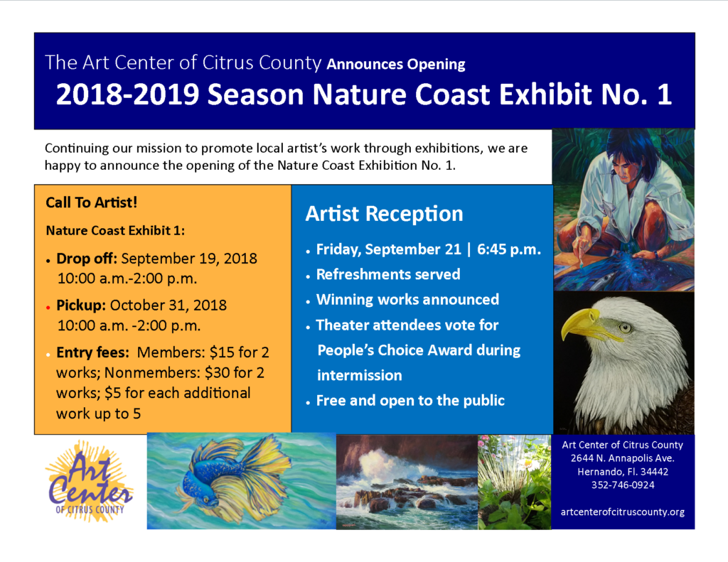 Art galleries art center of citrus county nature coast exhibit 1 call for artists submissions sept 19 2018 1000 am 200 pm m4hsunfo